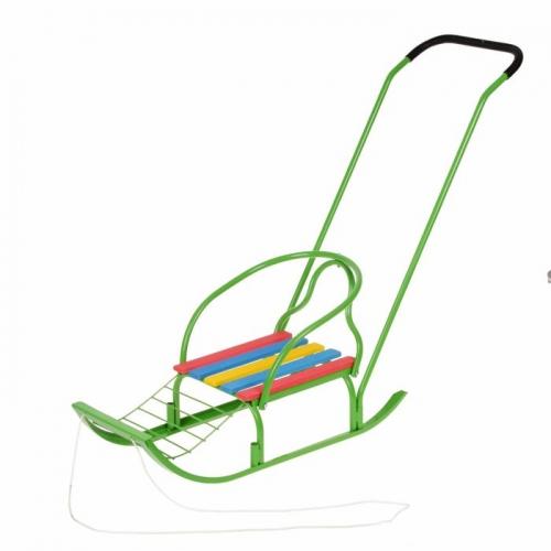 Санки «Вятка-4 в» с толкателем, цвет зелёный
