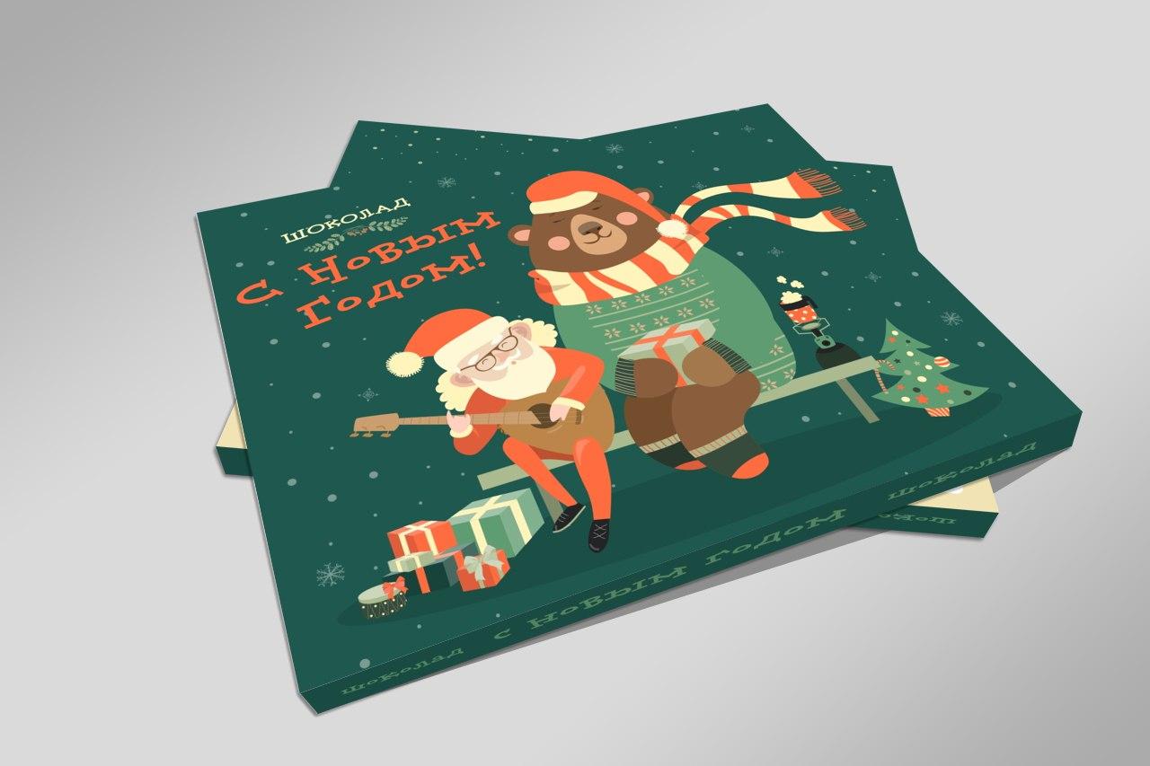 Новогодний шоколадный набор новогодние открытки, чайниками
