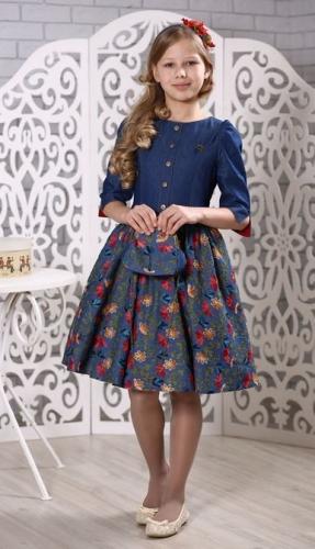 Платье МТ 18-1 джинс вышивка