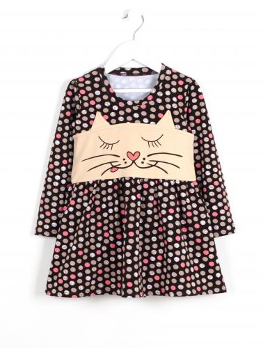 Платье 754А2 бежево-коричневый