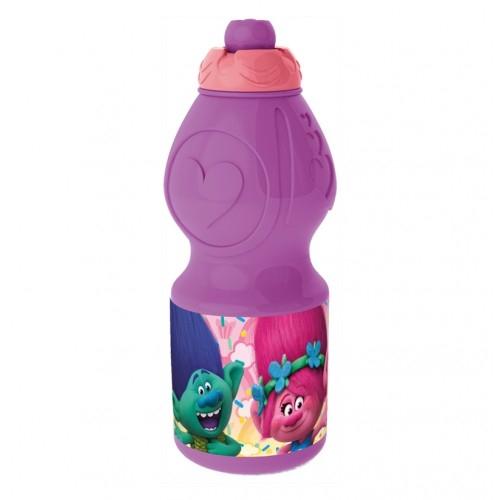 Бутылка пластиковая (спортивная, фигурная, 400 мл). Тролли