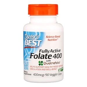 Doctor's Best, Полностю активный фолат 400 с кватрофоликом, 400 мкг, 90 капсул в оболочке растительного происхождения, 543,8+%