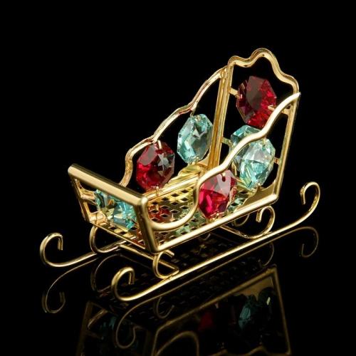 Сувенир «Салазки», 8×3×5 см, с кристаллами Сваровски