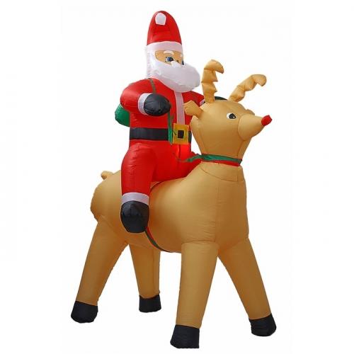 Надувной Дед Мороз верхом на олене