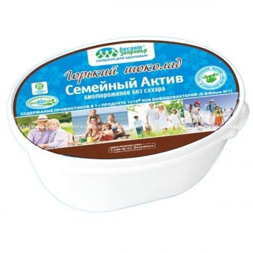 АКЦИЯ!!! БИОМОРОЖЕНОЕ СЕМЕЙНЫЙ АКТИВ ГОРЬКИЙ ШОКОЛАД БЕЗ САХАРА , 450 ГР1