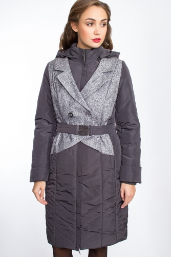 Пальто #24831Темно-серый