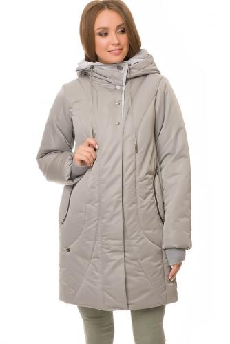 Утепленное пальто #67182Серо-бежевый