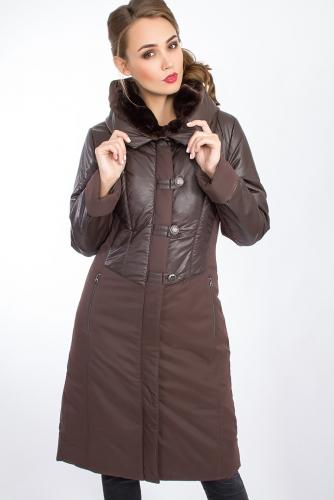 Пальто #24711Темно-коричневый