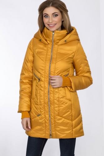 Пальто #55950Горчичный