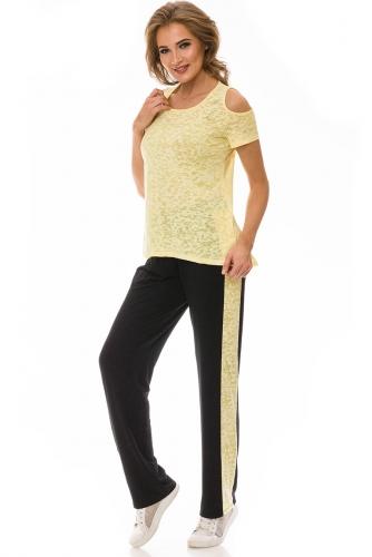 Брюки #78162Черный/Желтый