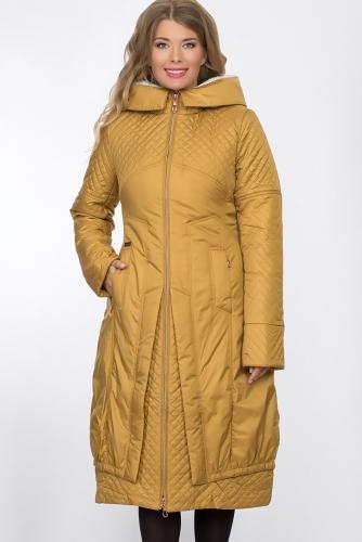 Пальто #53444Горчичный