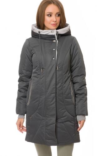 Утепленное пальто #67183Графитовый