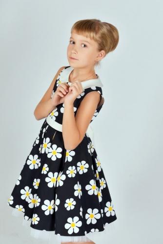 Нарядное черно-белое платье для девочки, модель 0136