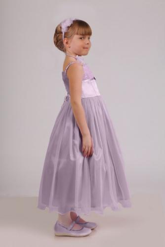 Нарядное сиреневое платье для девочки, модель 0106