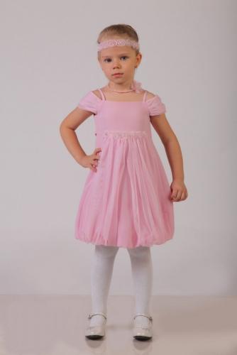 Нарядное розовое платье для девочки, модель 0108