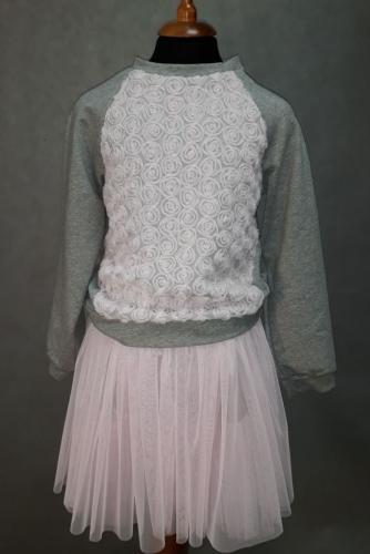 Серо-розовый свитшот для девочки, модель 1602/2