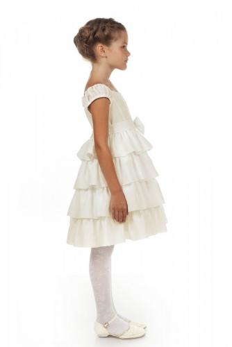 Нарядное молочное платье для девочки, модель 0114