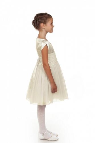 Нарядное молочное платье для девочки, модель 0113