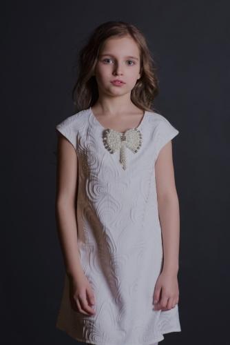 Нарядное белое платье для девочки, модель 0131