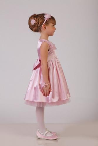 Нарядное розовое платье для девочки, модель 0109