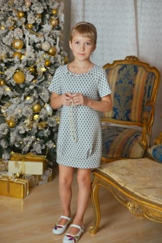 Нарядное синее платье для девочки, модель 0129