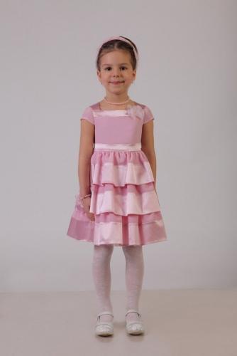 Нарядное розовое платье для девочки, модель 0110