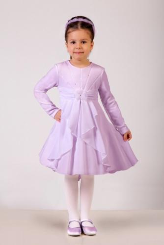 Нарядное сиреневое платье для девочки, модель 0103