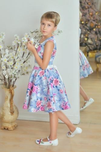 Нарядное голубое платье для девочки, модель 0142