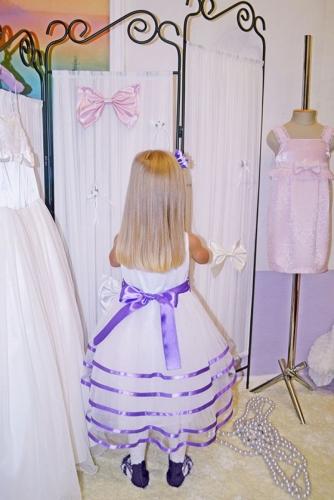 Нарядное белое платье для девочки, модель 0125