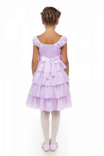 Нарядное сиреневое платье для девочки, модель 0114