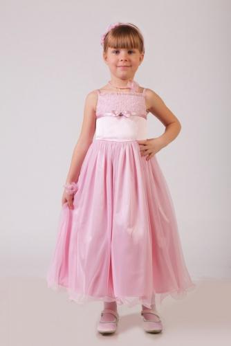 Нарядное розовое платье для девочки, модель 0106