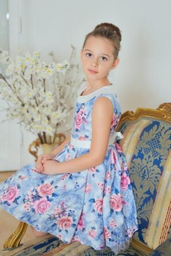 Нарядное голубое платье для девочки, модель 0136