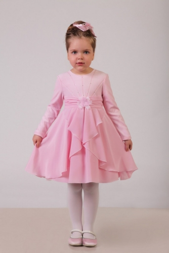 Нарядное розовое платье для девочки, модель 0103