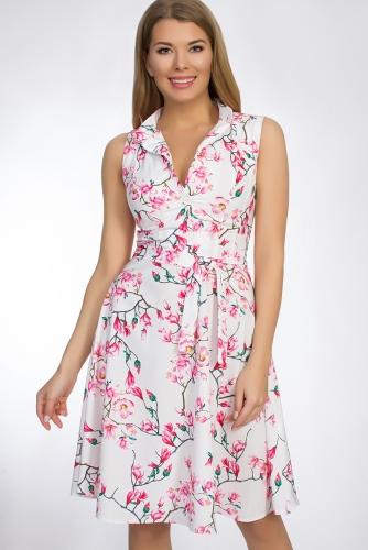 Платье #50809Белый/розовый