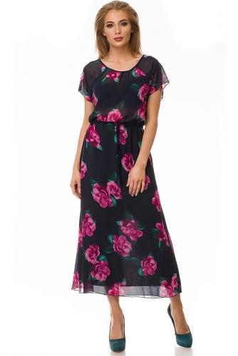 Платье #78578Розы/темно-синий