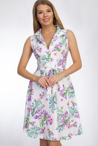 Платье #50795Белый/Голубой