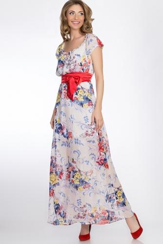 Платье #51682Белый/Голубой