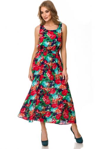 Платье #76672Темно-синий цветы