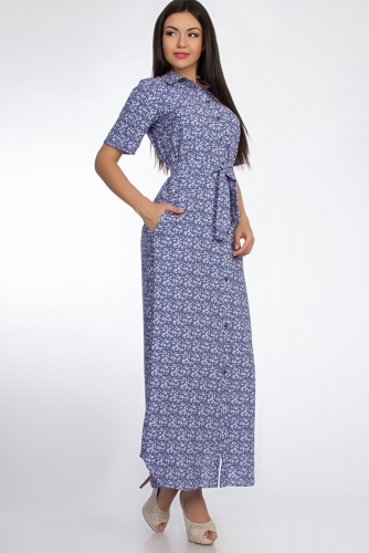 Платье #50918Голубой/Ромашка