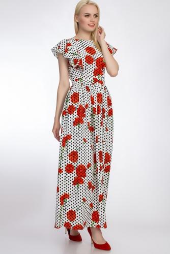 Платье #51041Белый/Горох/Цветы