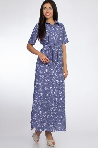 Платье #50914Голубой/Маки