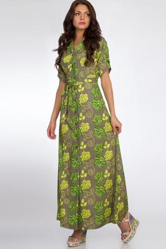 Платье #50683Хаки/Салатовый