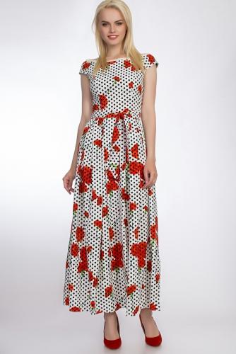 Платье #51040Белый/красный