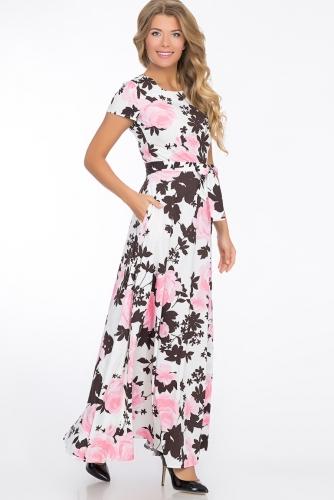 Платье #51970Белый/розовый