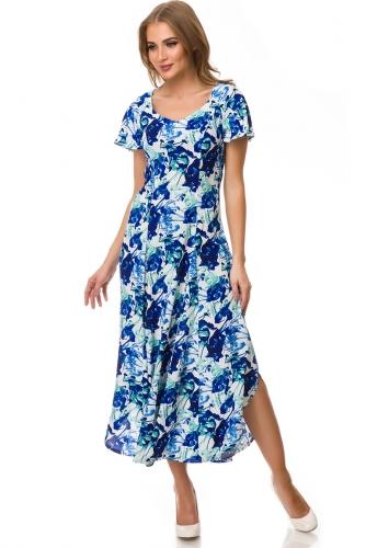 Платье #77132Белый/Синий