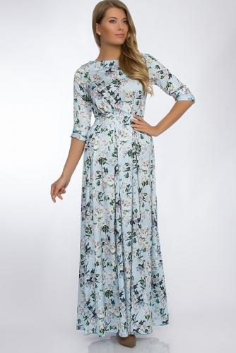Платье #30270Голубой/Белые цветы