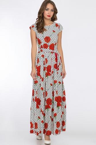 Платье #52378Белый/Горох/Цветы