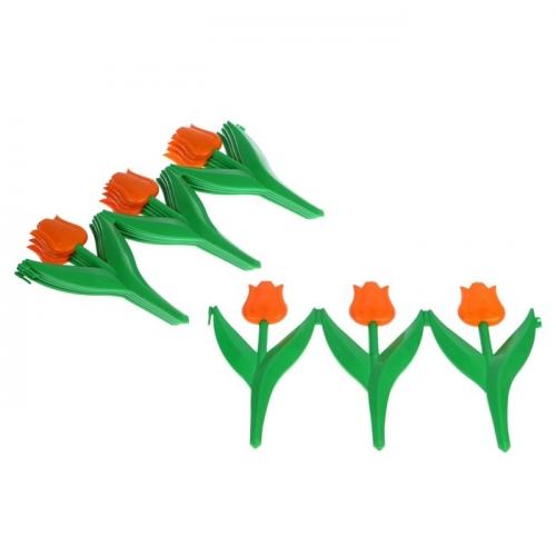 Ограждение декоративное, 30 х 225 см, 5 секций, пластик, оранжевый цветок, «Тюльпан»
