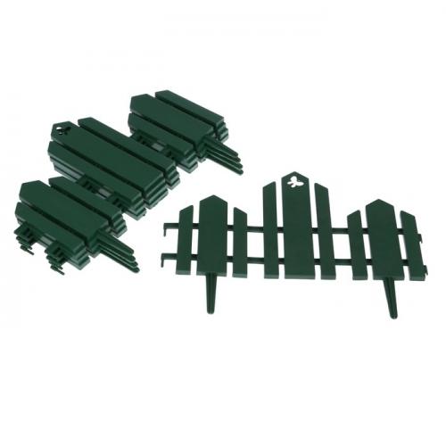 Ограждение декоративное, 25 х 170 см, 5 секций, пластик, зелёное,