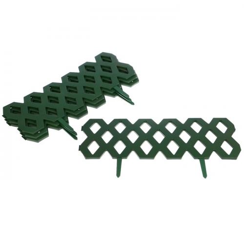 Ограждение декоративное, 31 х 240 см, 4 секции, пластик, зелёное,